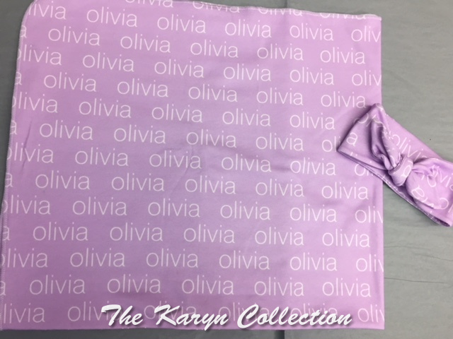 "Olivia""s 100% Organic Cotton Blanket and Headband Set"