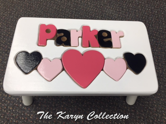 psParker's Hearts Stool....in custom colors black and 2 shades of pink