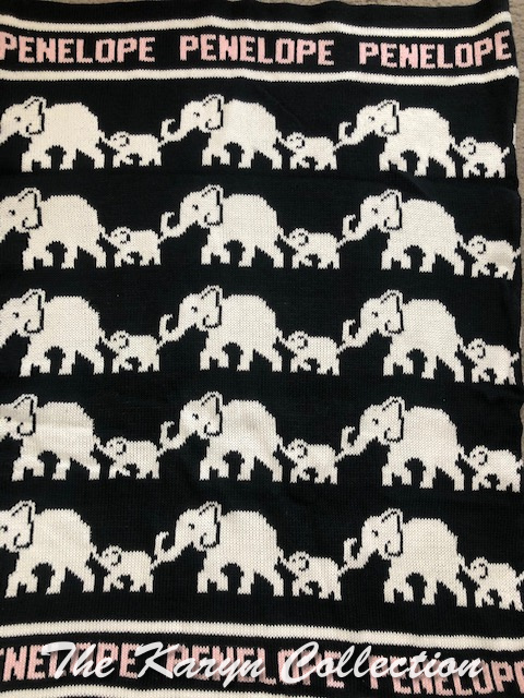 *EXCLUSIVELY OURS - Penelope's Elephant Cotton Blanket on black
