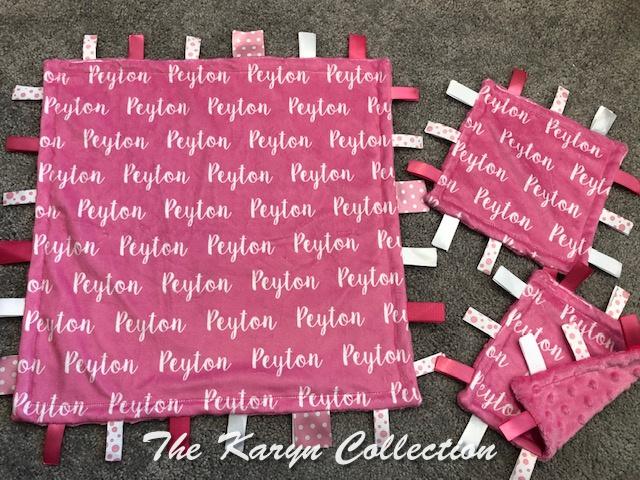 Peyton's 3 pc taggie set or 1 30x36 stroller blanket