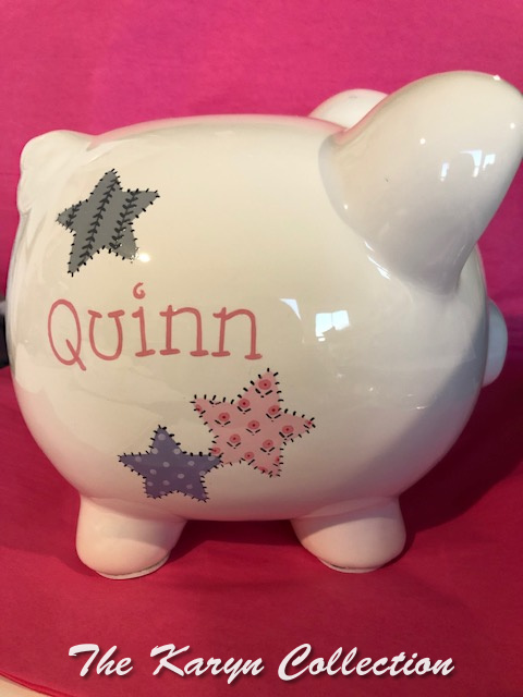 Quinn's patchwork stars piggy bank in pinks and grays