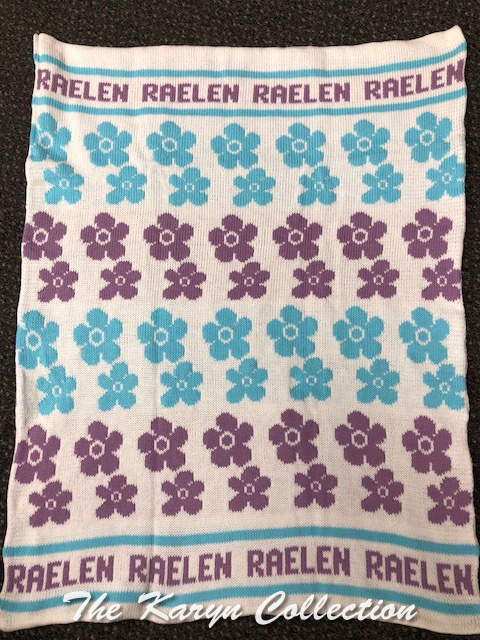 ..Raelen's Turquoise and Lilac Daisy Cotton Blanket