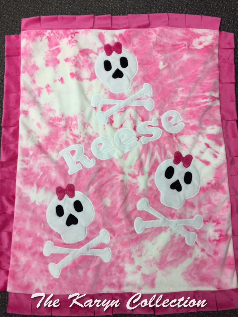 Reese's tie dye minky Skulls ***** please read notation on color changes....