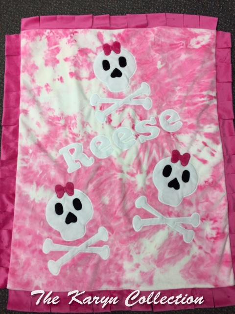 Reese's tie dye minky Skulls Blanket