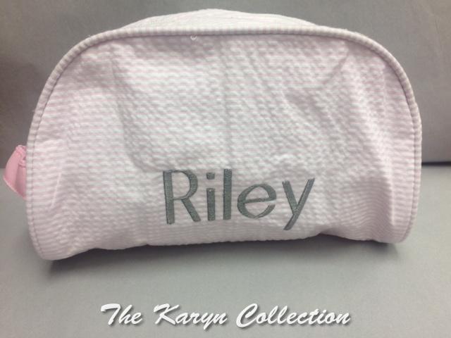 Riley's pink seersucker Dopp kit