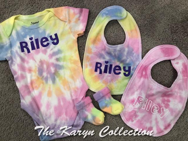 Riley's 4 pc Tie-die onsie sox and 2 bib