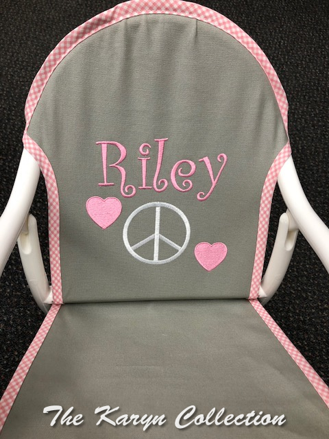 Riley's Gray canvass rocker with Pink gingham trim and Peace Sign Design