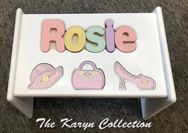 ..New!!  Rosie's dress up puzzle stool pastel colors