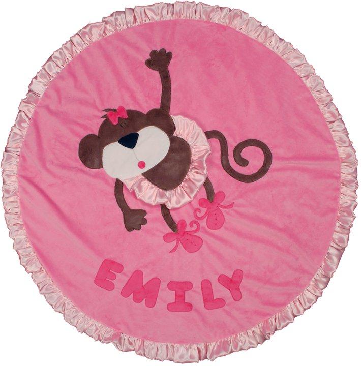 Dancing Monkey Round Minky Blanket