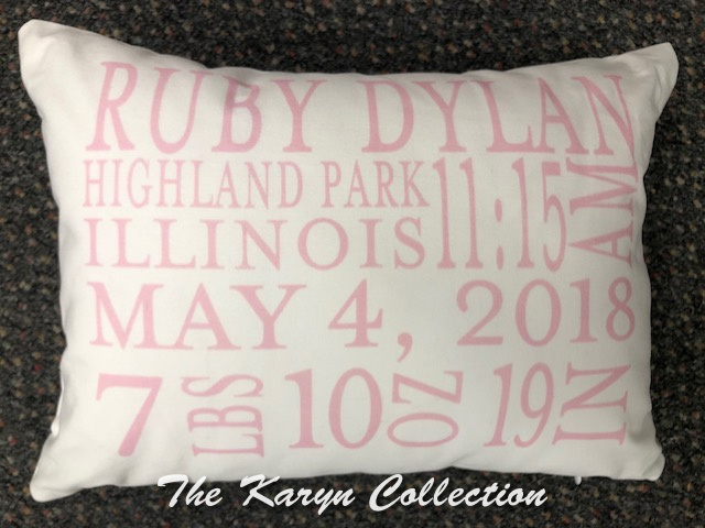 Ruby's Birth Pillow in Pink on White