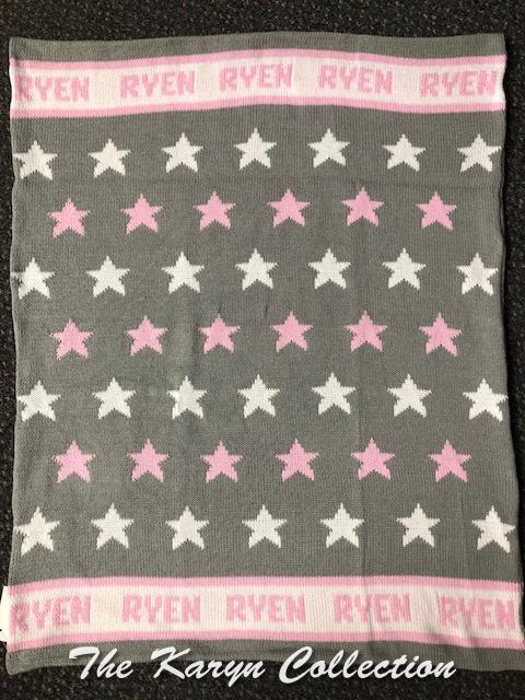 ..Ryen's  ALLSTAR grey, pink and white cotton blanket!