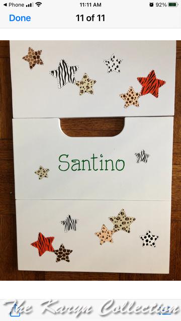 Santino's 2 step stool with jungle animal print design in stars