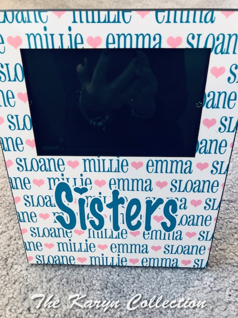 Sisters picture frame in turquoise and medium pink