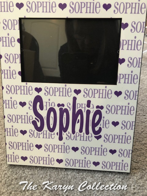 Sophie's picture frame in lavender and purple