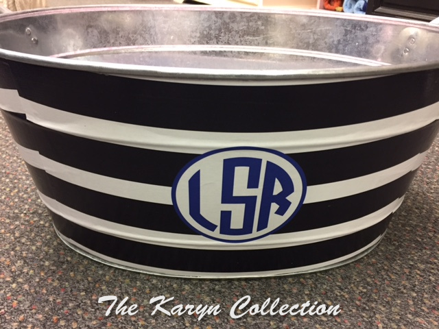 Striped tin with 3 initials..(And Other designs not pictured on our website)