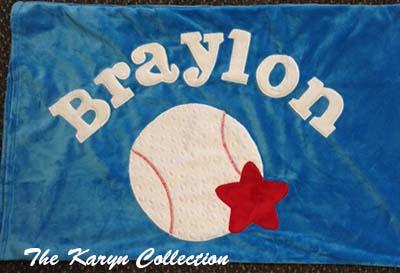 Baseball Minky Pillow Case