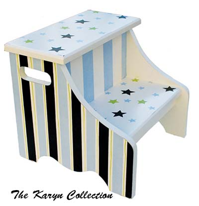 Green and Blue Stars and Stripes 2-Step Stool
