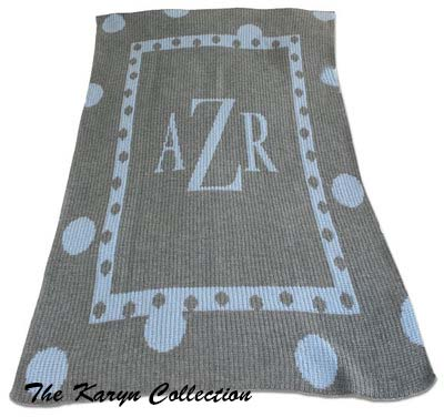 Large Polka Dot Monogram Stroller Blanket