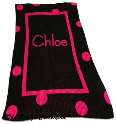 Polkadot Solid Border and Name Stroller Blanket 07