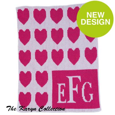 Lots of Hearts and Monogram Stroller Blanket
