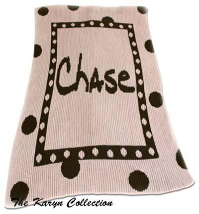 Large Polka Dot and Name Stroller Blanket