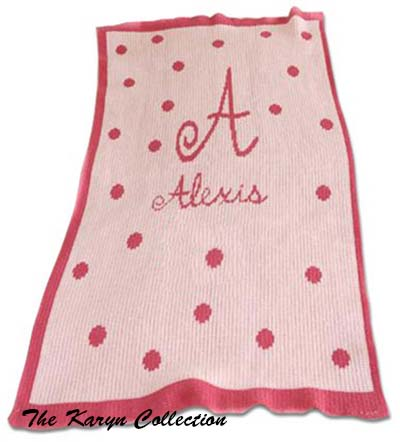 Precious Polkadots Initial and Name Stroller Blanket 03