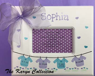 Onsie Birth Information Memory Box - Lavender and Aqua