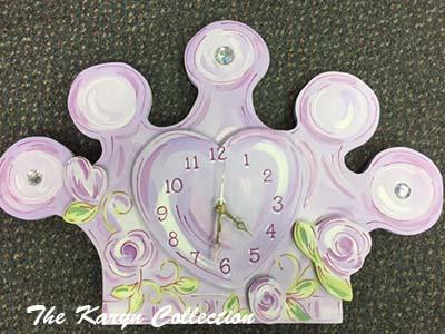 Princess Crown Clock in Lavender