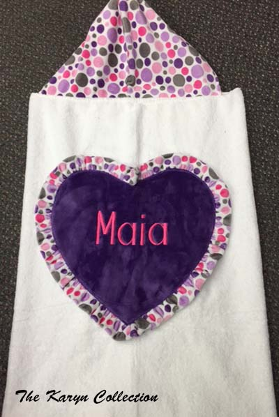 Maia's Purple Jumbo Heart Hooded Towel