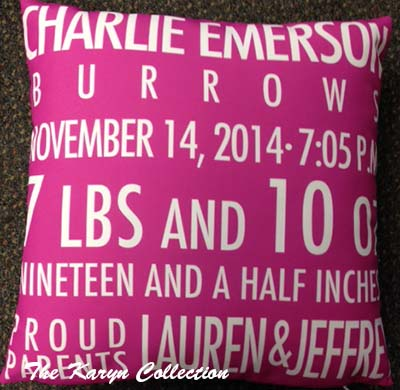Birth Announcement Pillow - Girl - Hot Pink