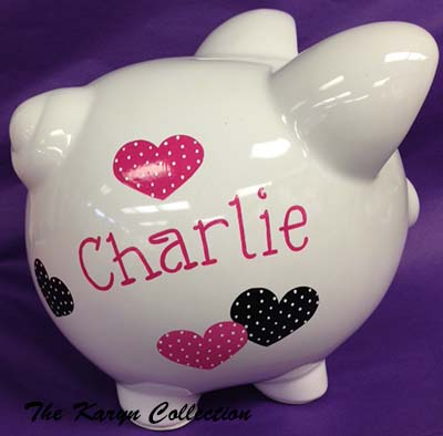 Black and Hot Pink Polka Dot Hearts Piggy Bank