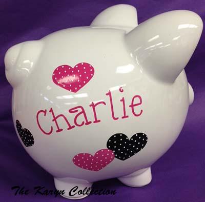 Charlie's Black and Hot Pink Polka Dot Hearts Piggy Bank