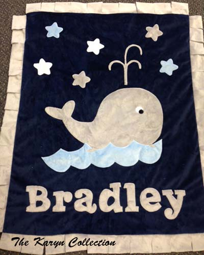 Bradley Whale Blanket on Navy