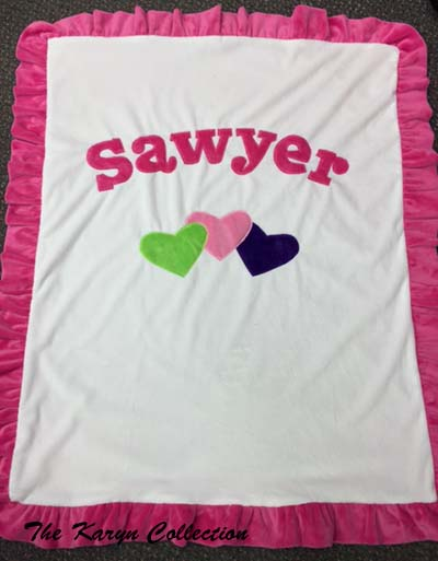 Basic 3 Over-lapping Hearts Blanket - Sawyer