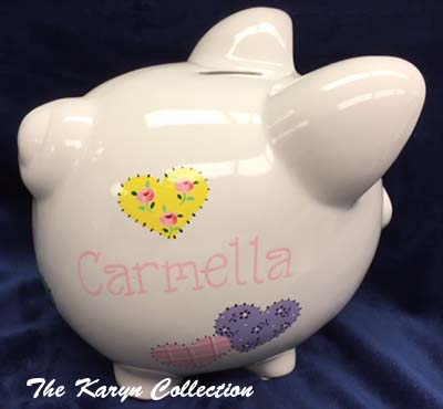 Carmella's Patchwork Hearts Piggy Bank