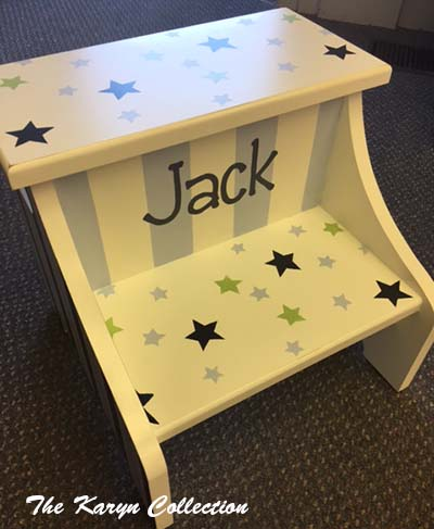 Jack's 2-Step Stool - Green Stars and Stripes