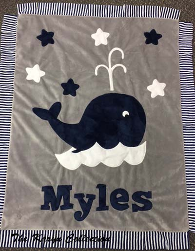 Mile's Whale Blanket in Navy and Gray