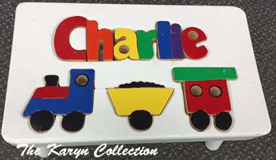 Charlie's Train Puzzle Stool on white