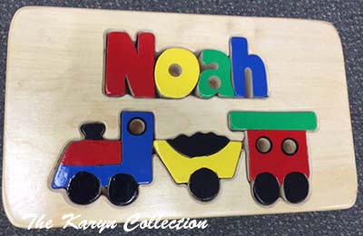 Noah's Train Puzzle Stool in Natural