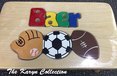 Baer's Natural Sports Puzzle Stool with soccer