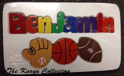 Benjamin's Sports Puzzle stool on white with basketball
