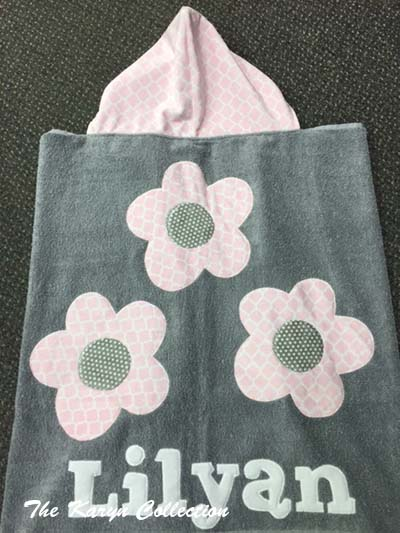 Gray and Pink Flower Towel
