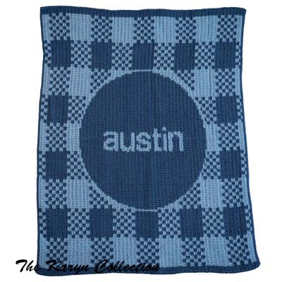 Gingham & Name Stroller Blanket