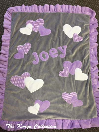 Joey's Gray and Lavender Heart Blanket