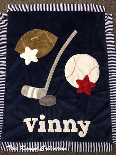Vinny's Sports Blanket with Hockey