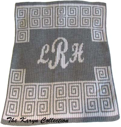 Scroll with Script Monogram Butterscotch Blanket
