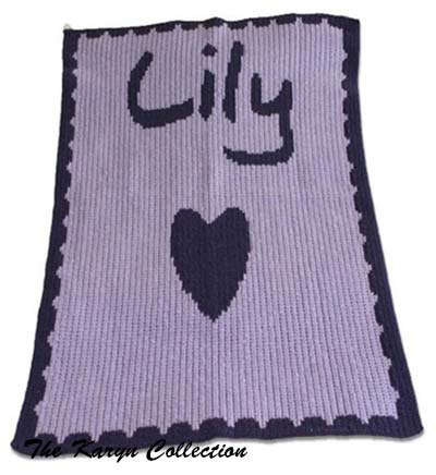Name Heart and Scalloped Edge Blanket