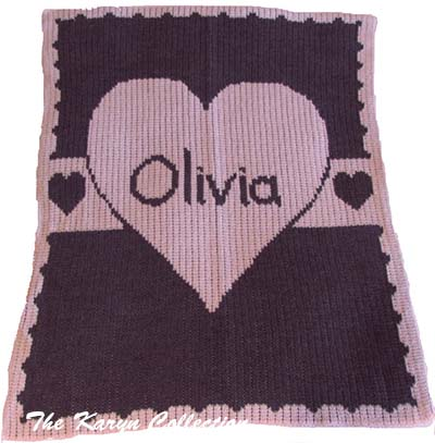 Heart with Banner Stroller Blanket