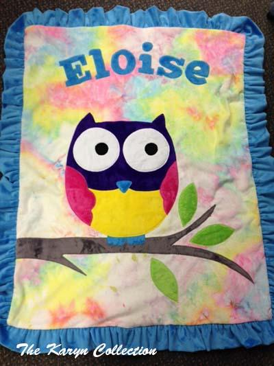 Eloise's Owl blanket on tie dye minky