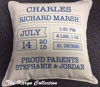 Boy Canvas Birth Pillow